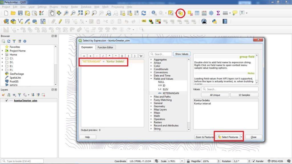 Klik Select Features