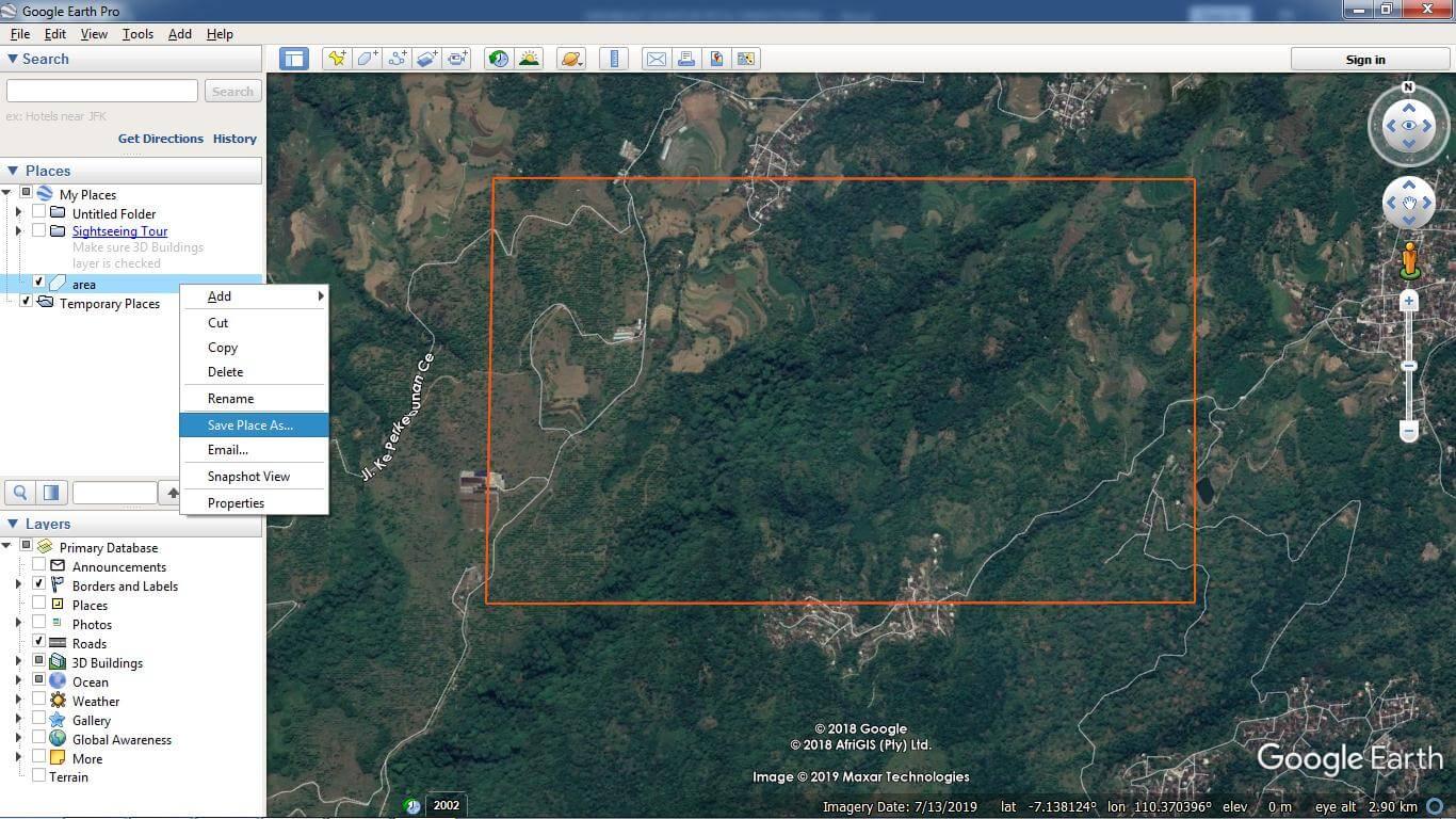 Membuat batas di Google Earth
